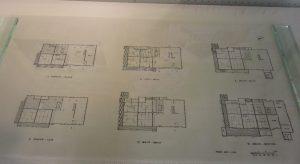 間取り。見づらいですが、Ⅳ(昭和15年~)で左上に便所が(それ以前は家の外で用を足していた。)、Ⅴ(昭和35年~)では風呂場が出来ました。